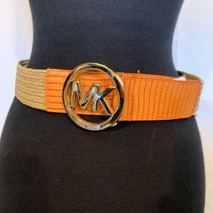 Micheal Kors logo belt leather and stretchy rattan